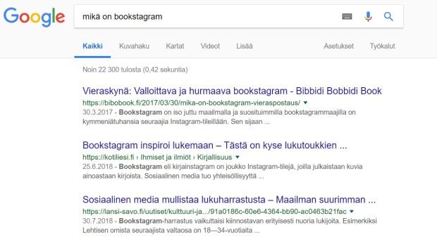 """""""Mikä on bookstagram"""" -hakutulos"""